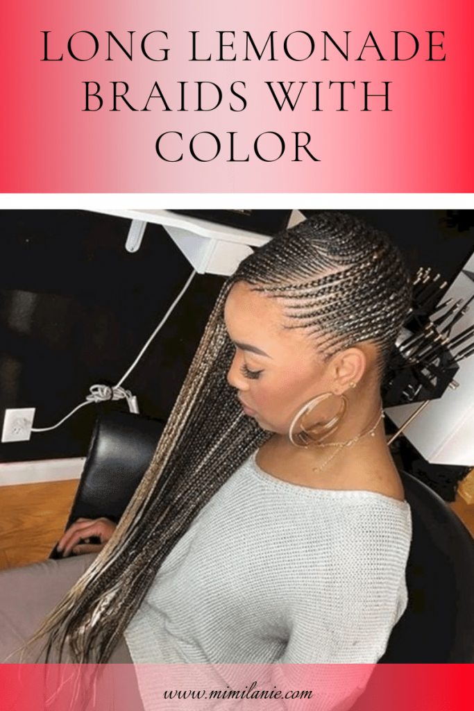 Long Lemonade Braids With Color